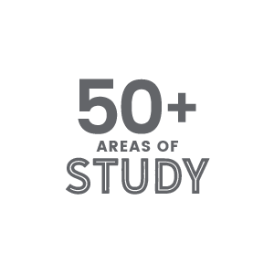 More than 50 areas of study